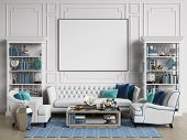 Classic Interior Room In Blue And White Colors With Copy Space.sofa And Chairs,sidetables With Lamps poster