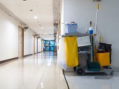 Cleaning Tools Cart Wait For Maid Or Cleaner In The Hospital. Bucket And Set Of Cleaning Equipment I poster