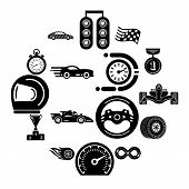 Car Race Icons Set. Simple Illustration Of 16 Car Race Vector Icons For Web poster