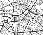 Abstract City Navigation Map With Lines And Streets. Vector Black And White Urban Planning Scheme. I poster