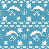 Seamless Nautical Sea Pattern. Waves, Anchors, Ship Steering Wheels, Diving And Floating Marine Dwel poster