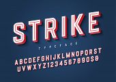 Strike Trendy Inline Sports Display Font Design, Alphabet, Typeface, Letters And Numbers, Typography poster