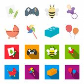 Stroller, Windmill, Lego, Balloons.toys Set Collection Icons In Cartoon, Flat Style Vector Symbol St poster