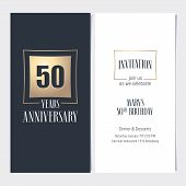50 Years Anniversary Invitation Vector Illustration. Graphic Design Template With Golden Element For poster