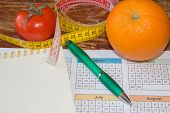 Citrus Fruits, Tomato. The Idea Of Healthy Diet, Dietary Breakfast. Losing Weight With The Help Of A poster
