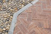 Floor Design With Terrace Tiles And Ornamental Gravel Various Materials For Flooring In The Garden B poster
