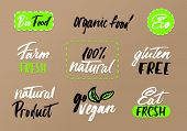 Eco Labels Set On Craft Background. Modern Brush Lettering Eco Food Tags. Vegan, Farm Fresh, Organic poster