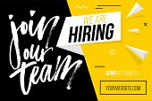 Hiring Recruitment Design Poster. We Are Hiring Brush Lettering With Geometric Shapes. Vector Illust poster