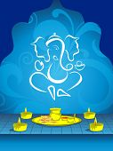 image of ganpati  - abstract blue floral design background with ganpati and burning candle with pooja - JPG
