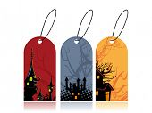 Halloween price label set on white background