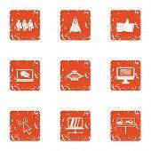 Business Administration Icons Set. Grunge Set Of 9 Business Administration Vector Icons For Web Isol poster