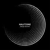 Halftone Circle Frame With White Abstract Dots On Black Background. Logo Design Element For Technolo poster