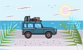 Suv Car With Luggage On The Roof On The Beach By The Sea. Off-road Vehicle On The Sunlit Seascape. S poster