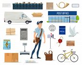 Postal Delivery Service Cartoon Set With Postman And Post Icon. Post Office, Mailman, Letter And Mai poster