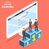 Search Engine Ranking Flat Isometric Vector. First 3 Winners Of The Seo Ranking Are Standing On The  poster
