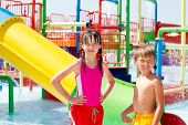 picture of inflatable slide  - 	Children playing in pool - JPG