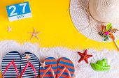 May 27th. Image Of May 27 Calendar With Summer Beach Accessories. Spring Like Summer Vacation Concep poster