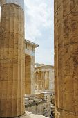 Greece, Athens, April 2018. Architecture Of Ancient Greece. Marble Columns Of Ancient Temples. Ruins poster