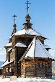 Wooden Church Of The Resurrection Of Christ From Patakino In Suzdal Town In Winter In Vladimir Oblas poster