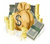 image of money prize  - Piles of money in the form of cash and gold coins with big money sack - JPG