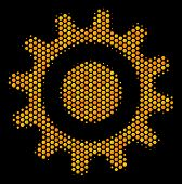 Halftone Hexagon Cogwheel Icon. Bright Gold Pictogram With Honey Comb Geometric Pattern On A Black B poster
