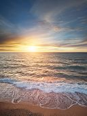 Beautiful seascape. Waves on the beach. Aerial composition of nature. poster
