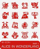 Vector Alice In Wonderland Icon Set On Red Background poster