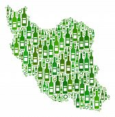Постер, плакат: Iran Map Collage Of Wine Bottles And Circles In Variable Sizes And Green Color Tinges Abstract Iran