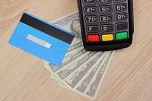 Payment Terminal With Credit Card And Money, Credit Card Reader, Paying Using Credit Card Or Cash, F poster