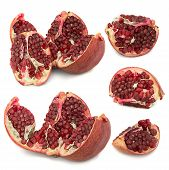 A Lot Of Different Garnets. Beautiful, Juicy, Ripe Pomegranate On White Background, Juicy And Bright poster