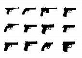 image of glock  - set silhouette of miscellaneous pistols and revolver - JPG