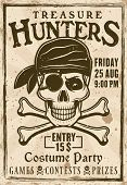 Pirates Costume Party Vintage Poster With Headline Treasure Hunters Vector Illustration For Invitati poster