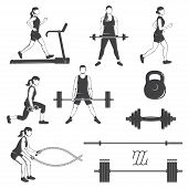Set Of Fitness Girls With Fitness Equipments Silhouette. Runing On The Treadmill Machine, Working Ou poster