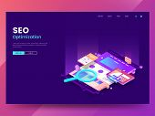 Seo Optimization Web Page Template. Isometric Web Interface With Different App. Colorful Website Ill poster