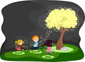 picture of fireflies  - Illustration of Kids Gathered Around a Tree Covered with Fireflies - JPG