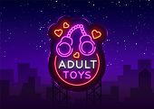 Adult Toys Logo In Neon Style. Design Template, Sex Shop Neon Signs, Light Banner On The Theme Of Th poster