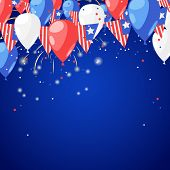 4 Of July Usa Independence Day. Abstract Holiday Celebration Vector Blue Background. Fireworks And A poster