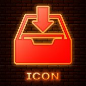 Glowing Neon Download Inbox Icon Isolated On Brick Wall Background. Add To Archive. Vector Illustrat poster