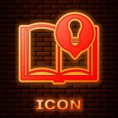 Glowing Neon Interesting Facts Icon Isolated On Brick Wall Background. Book Or Article And Light Bul poster