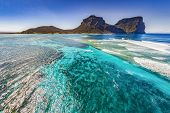 Aerial View Of Lord Howe Island Coasts, Turquoise Blue Coral Reef Lagoon, The Tasman Sea, Between Au poster