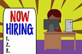 Handwriting Text Now Hiring. Concept Meaning Workforce Wanted Employees Recruitment Today Job Opport poster