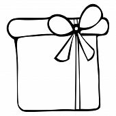 Illustration Of A Box With A Gift. Surprise. Colorless Background. Coloring Book For Children. Chris poster