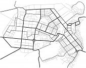 Master Plan Of Barnaul City. Town Streets On The Plan. Map Of The Scheme Of Road. Urban Environment, poster