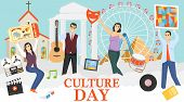 Culture Day. A Group Of Mini Characters People Celebrate The Day Of Culture. Mini Characters Hold Pa poster
