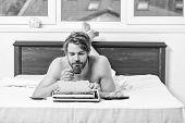 Morning Bring Fresh Idea. Morning Inspiration. Erotic Literature. Daily Routine Of Writer. Man Write poster
