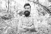 Simple And Comfortable. Bearded Man In Comfortable Casual Style On Natural Landscape. Hipster Feelin poster