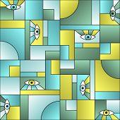 Minimal Pattern With Eyes In Geometric Shapes Grid Mondrian Avant Garde Fashion Textile Print. Decor poster