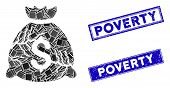 Mosaic Corrupted Fund Icon And Rectangle Poverty Stamps. Flat Vector Corrupted Fund Mosaic Icon Of R poster