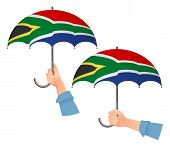 South Africa Flag Umbrella. Social Security Concept. National Flag Of South Africa  Illustration poster