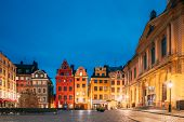Stockholm, Sweden. Famous Old Colorful Houses, Swedish Academy And Nobel Museum In Old Square Storto poster